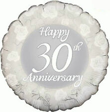 """30th Pearl Wedding Anniversary Party Decoration 18"""" Foil Balloon"""