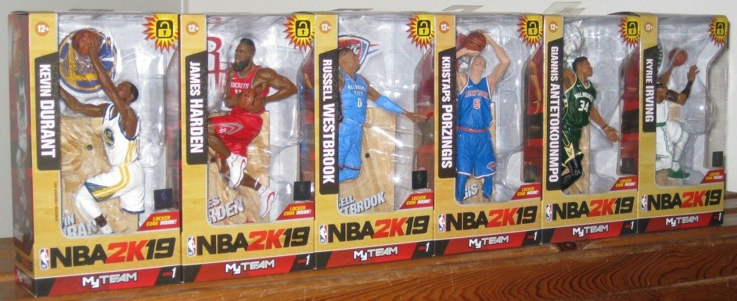 Set of 6 McFarlane NBA 2K19 Series 1 Giannis Antetokounmpo, Figure Harden Irving
