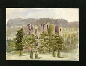 C-A-Grove-Late-19th-Century-Watercolour-Castle-Belonging-to-C-Bates
