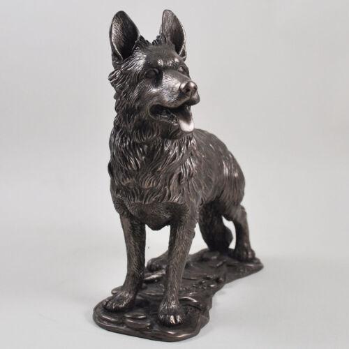 German Shepherd Dog Bronze Sculpture Cold Cast Resin Gift Home Decor Pets 07719