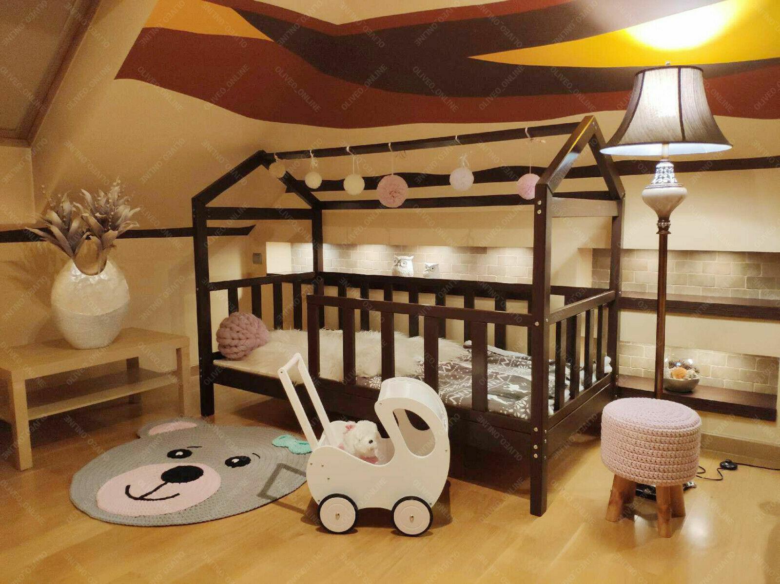 Enfants Lit Double HOUSE, maison lit pour enfants lit barrières 45 cm