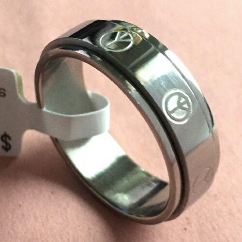 Edelstahl Ring Friedenszeichen peace and love beweglich rotierend Gr 52-69 N.68