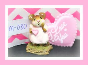 Wee-Forest-Folk-M-080-Girl-Sweetheart-1982-Pink-Dress-Valentine-Mouse-Figure