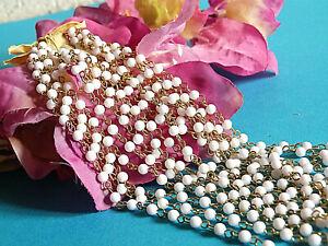 Utile 926b/ Superbe Écheveau 5 MÈtres Perles De Verre Et Anneaux DorÉs Bijoux CrÉation Facile Et Simple à Manipuler