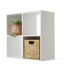 4 Cube Display Unit White Gloss Bookshelves Shelves Bookcase Storage Organizer