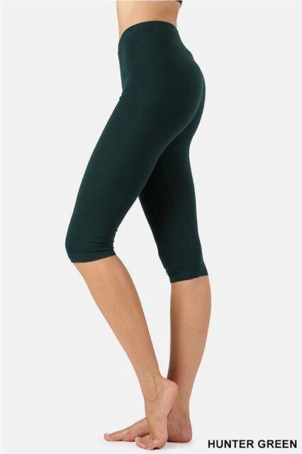 Plus Size Solid Stretch Velour Brushed Velvet Leggings HUNTER-GREEN COLOR  A236