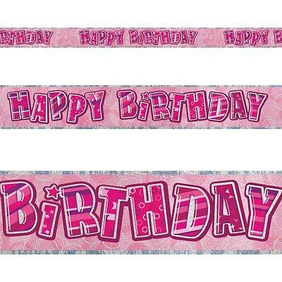 9ft Happy Birthday Pink Sparkle Prismatic Party Foil Banner Decoration