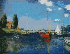 Monet-Boats-at-Argenteuil-Counted-Cross-Stitch-Kit-12-034-x-9-3-034-30-5cm-x-23-5cm