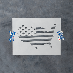 United States Map Flag Stencil - Durable & Reusable Mylar Stencils