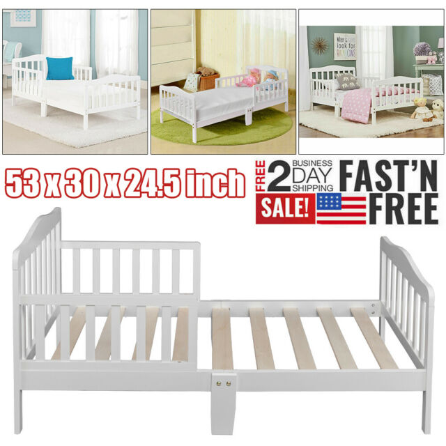 Wooden Baby Toddler Bed Kids Children Bedroom Furniture with Safety Rails  White