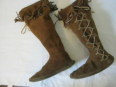 Minnetonka Moccasins Boots Leather Fringe Womens Size 11 Knee High Lace Up