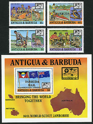 Ovptd Australien Mnh.16th Word Scout Jamboree Effizient Barbuda 982-985 986 S/s 1988