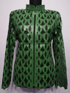 Green-Leather-Jacket-for-Woman-Coat-Women-Zipper-Short-Collar-All-Size-Light-D5