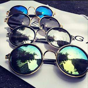d4a3b28d8fa Image is loading Vintage-Steampunk-Round-Sunglasses-Metal-Frame-Retro -Mirror-