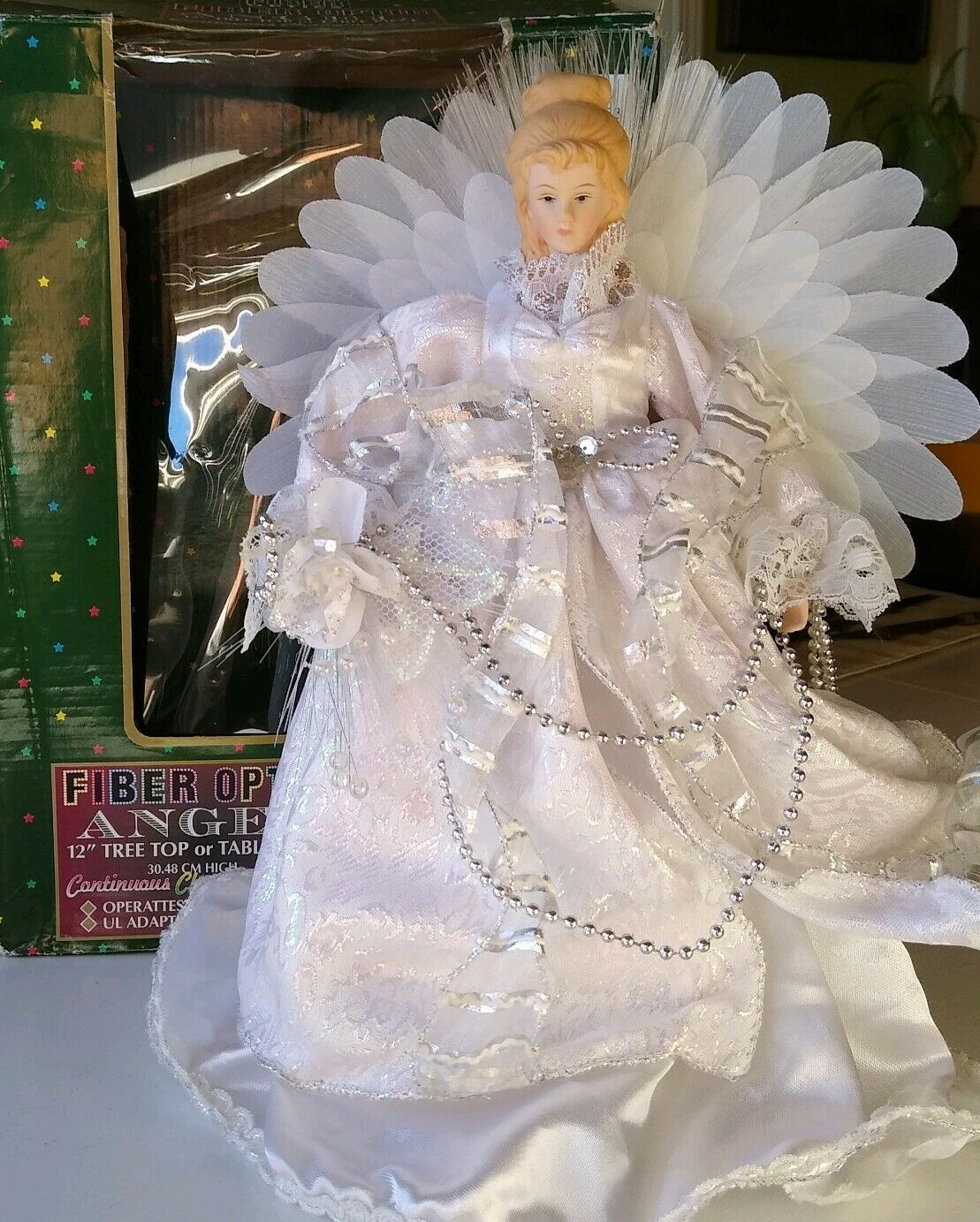"12"" FIBER OPTIC White Silver SNOW ANGEL Color Changing Tree Topper Christmas"