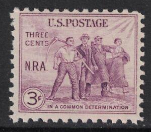 Scott-732-Mnh-NRA-Nacional-Recuperacion-Act-Group-Of-Workers-3c-1933-Nuevo