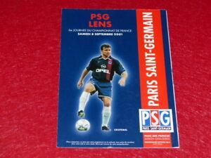 COLLECTION-SPORT-FOOTBALL-PROGRAMME-PSG-LENS-8-SEPTEMBRE-2001-Champ-France