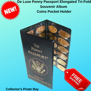 Collection-Elongated-US-Mint-Penny-Cent-Quarter-Coin-Passport-Type-Wallet-Holder