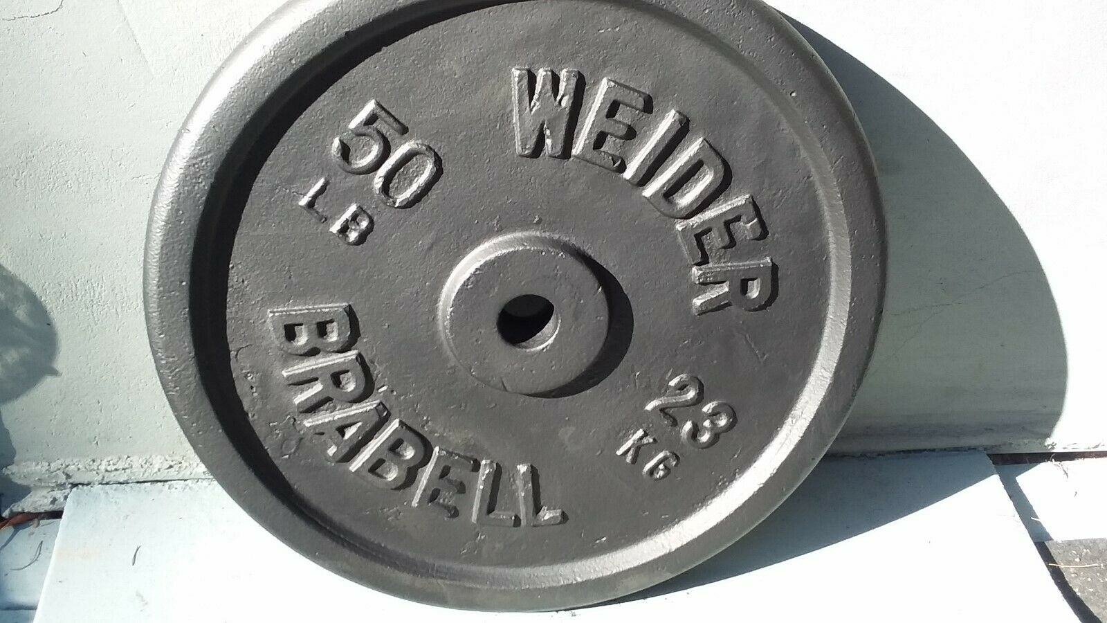 WEIDER 50 LB BARBELL misscast rare BRABELL vintage