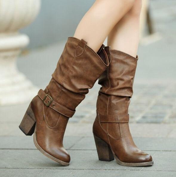 Retro donna Block High Heels Pull On Cowboy Mid Calf stivali Slouch Riding scarpe