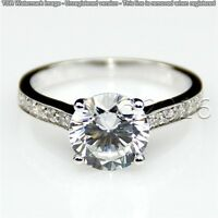 Genuine 1.85CT Off White Yellow Moissanite Ring Wedding Ring 925 Silver Ring A07