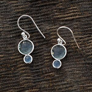 925-Sterling-Silver-Natural-Chalcedony-Topaz-Gemstone-Dangle-Hanging-Earring