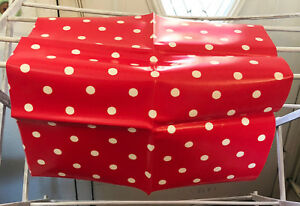 Cath Kidston Oilcloth Fabric White Polka Dots On Red 20 1 2 X 19