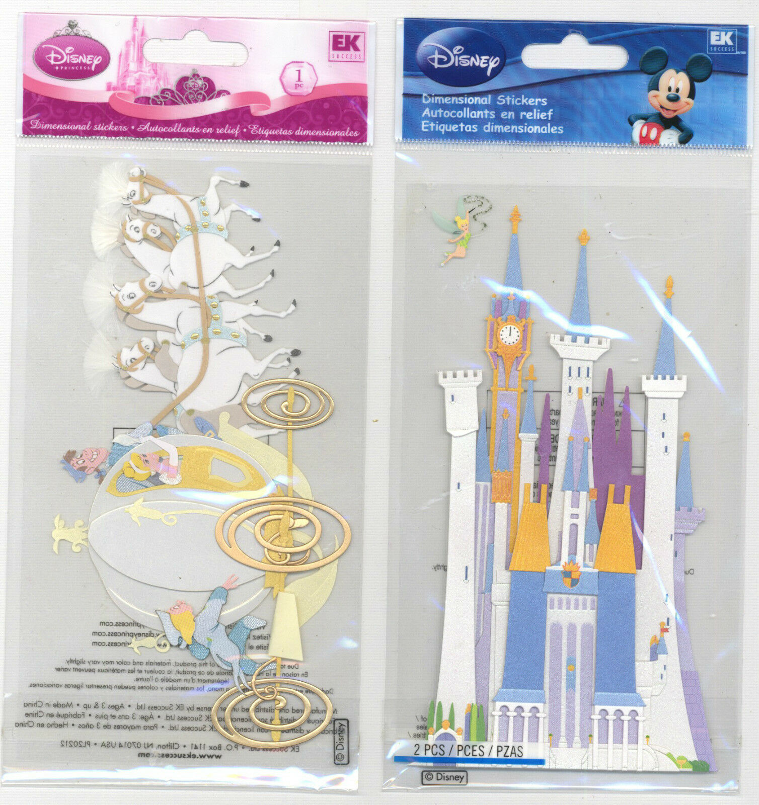 Disney Cinderella/'s CASTLE 3d Scrapbook Stickers