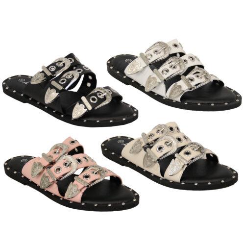 Ladies Slip On Buckle Sandals Womens Flat Open Toe Mule Sliders Studded Summer