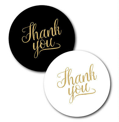 Thank You Stickers White Or Black With Gold Glitter Effect Text 30mm Ebay