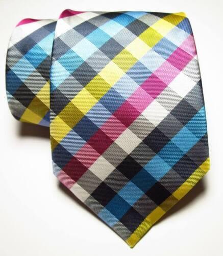 New Classic Checks Black White Red Blue JACQUARD WOVEN Silk Men/'s Tie Necktie