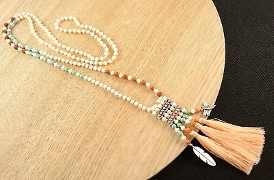 Bohemian Single Strand Beaded White Howlite Gemstone Green Tassel Necklace #B236