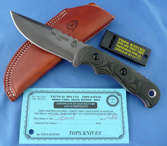 Tops Tex Creek XL Knife Black Linen Micarta 1095 Carbon Steel USA Made