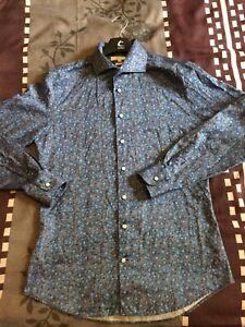 2blind2c-Danish-Designer-Men-039-s-Floral-Shirt-Size-Medium-Slim-fit