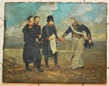 ANTIQUE 19TH CENTURY OIL PAINTING ON LINEN NAPOLEON HISTORIC CHARLES GEDON 1803