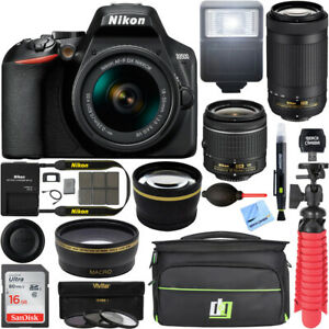 Nikon-D3500-DSLR-Camera-w-AF-P-DX-18-55mm-amp-70-300mm-Lens-REFURB-32GB-Bundle