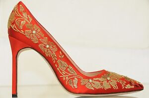 591c6bd33c8  925 New Manolo Blahnik BB 105 Embroidery RED Satin Shoes Pumps 38 ...