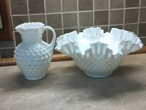 Small-Fenton-hobnail-Milk-Glass-pitcher-and-bowl-Pitcher-6-Tall-bowl-5