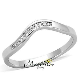 .06 Ct Cubic Zirconia Stainless Steel Curved Band Promise Ring Womens Size 5-10