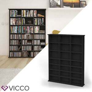Details zu VICCO Medienregal JUKEBOX Schwarz CD DVD Bluray Regal Standregal  Regalwand