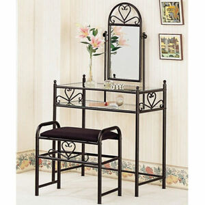 vanity tables for makeup table black glass with mirror. Black Bedroom Furniture Sets. Home Design Ideas