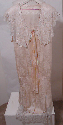 Vintage JESSICA MCCLINTOCK Cream Burn Out Silk & Lace Fishtail Wedding Gown XL