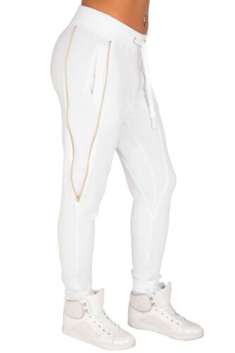 Poetic Justice Curvy Women/'s White French Terry Gold Zippers Jogger Pants