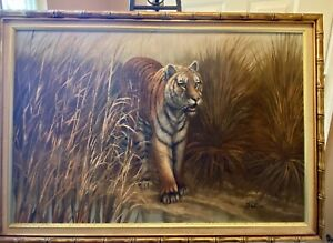 Vintage-Tiger-Charging-from-Forest-Oil-Painting-signed-by-artist-Watson