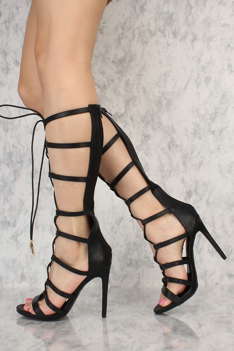 Lot 5 Nude Black Lace Up Strappy Gladiator Gladiator Gladiator Single Sole Heels Faux Leather 21fc10