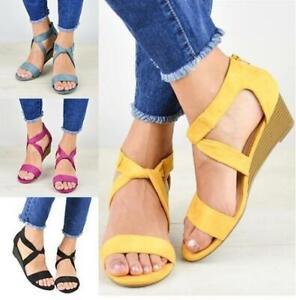 Women Roman Faux Suede Straps Wedge Heel Sandals Ladies Open Toe Shoes Plus Size
