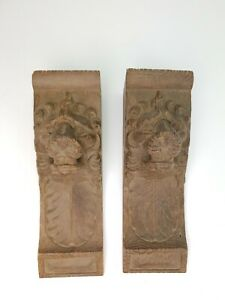 Pair-Belgian-Antique-Reclaimed-Handcarved-Wooden-Furniture-Decoration-Lion-Heads