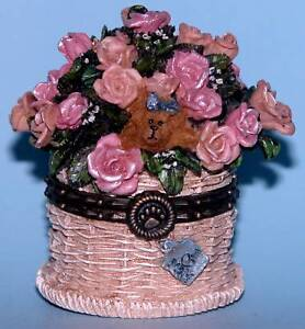 Boyds-Pinkie-039-s-Flower-Basket-hinged-trinket-box-mouse-82527-NIB-roses