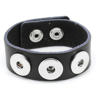 Wholesale Lots Black Real Leather Bracelet  Fits Metal Snap Press Buttons