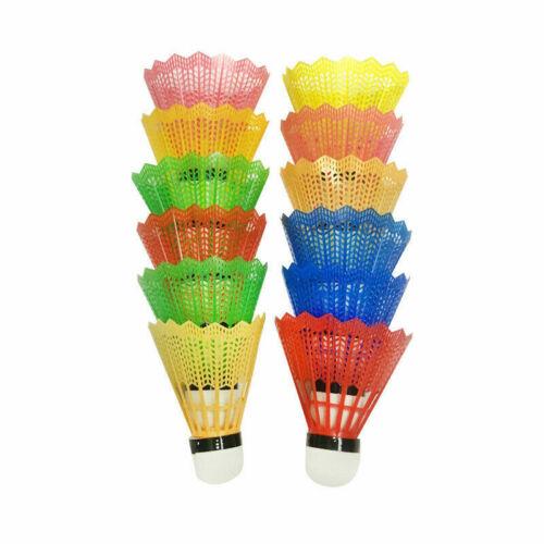 12Pcs Colorful Badminton Feather Balls Shuttlecocks Sport Games Training UK